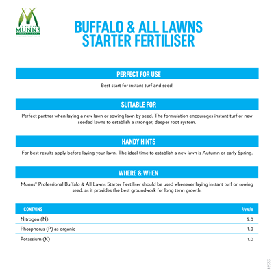 Munns Professional Buffalo All Lawns Starter Fertiliser Lawn Fertiliser